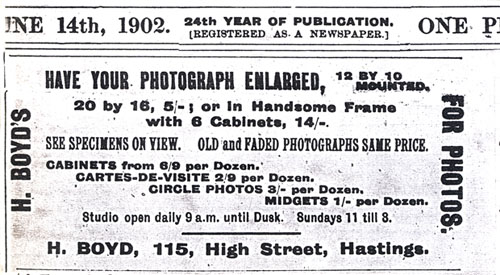 ABOVE An Advertisement For Harry Boyds Photographic Studio At 115 High Street Hastings Published In The St Leonards Weekly Mail And Times