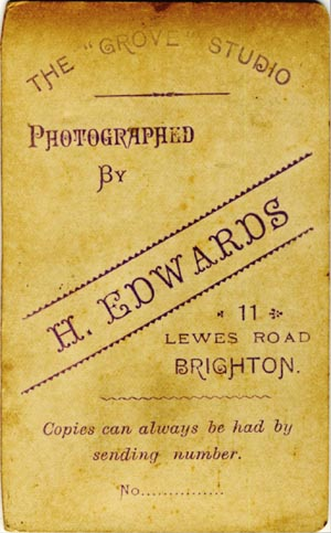ABOVE The Trade Plate Of H Edwards Grove Studio 11 Lewes Road Brighton As Shown On Reverse A Carte De Visite Which Dates From Around