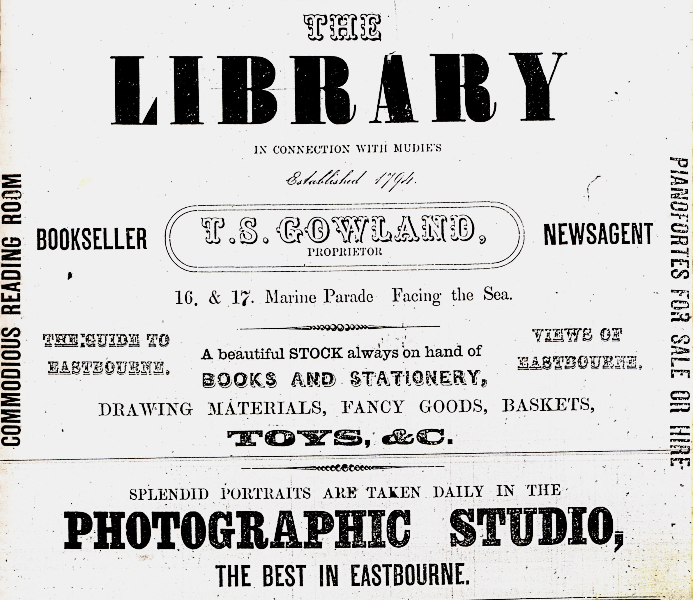 LEFT An Advertisement For The Library At 16 17 Marine Parade Eastbourne Which Appeared In Gazette On 23rd August 1865