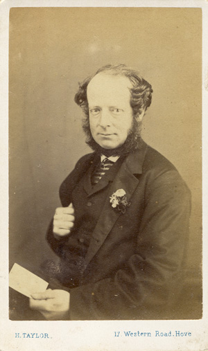RIGHT A Carte De Visite Portrait Of Man Holding Sheet Paper Photographed By Harry Taylor 17 Western Road Hove C1867