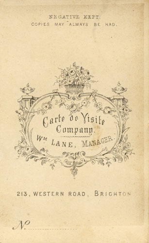On The Reverse Of This Portrait Was Carte De Visite Companys Trade Plate And A Negative Number 1274 See Illustration Left