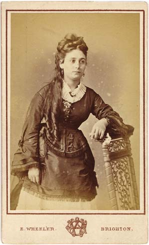 ABOVE A Carte De Visite Portrait Of Young Woman Leaning On Chair Photographic Taken By Edmund Wheeler 43 Western Road Brighton Around