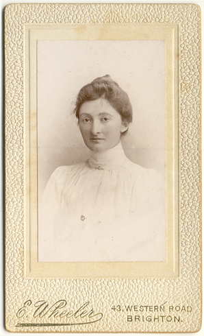 ABOVE A Carte De Visite Portrait Of An Unknown Woman Photographed Around 1900 At The Studio Edmund Wheeler 43 Western Road Brighton