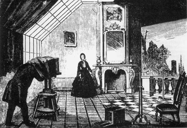 ABOVE The Interior Of A Typical Carte De Visite Portrait Studio In 1860s Photographer Is Using Special Multi Lens Camera Which Could Take