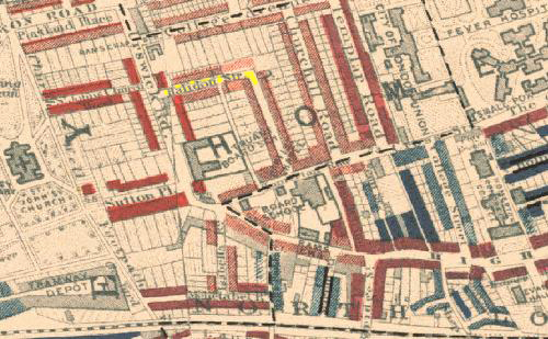 above the location of halidon street shaded in yellow in the district of hackney east london as shown in a map produced by charles booth in 1899 to