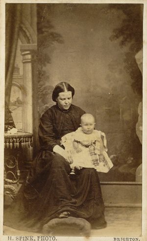 ABOVE A Carte De Visite Portrait Of Young Woman And Her Baby Photographed At Henry Spinks Studio 109 Western Road Brighton C1865
