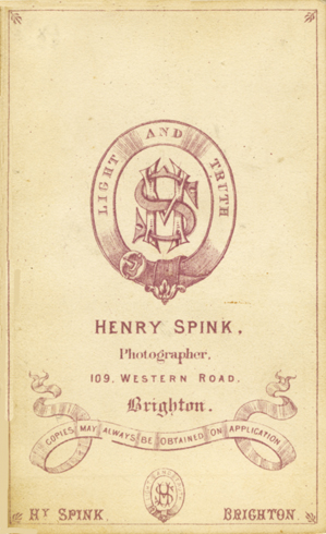 ABOVE The Reverse Of Cdv Illustrated Above Showing Blank Back Henry Spinks Early Cdvs Did Not Carry Any Printed Publicity On
