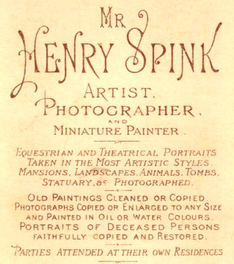 ABOVE The Publicity On Reverse Of A Carte De Visite Produced By Henry Spink Artist Photographer 109 Western Road Brighton C1876
