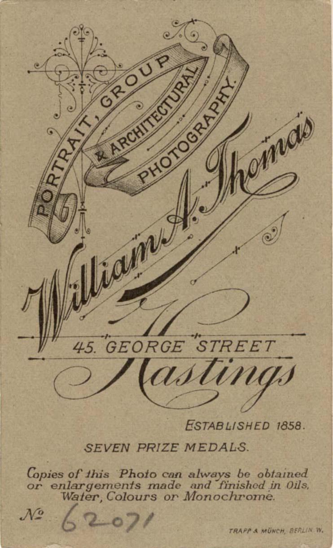 A Carte De Visite Portrait By W Thomas Of Hastings C1902