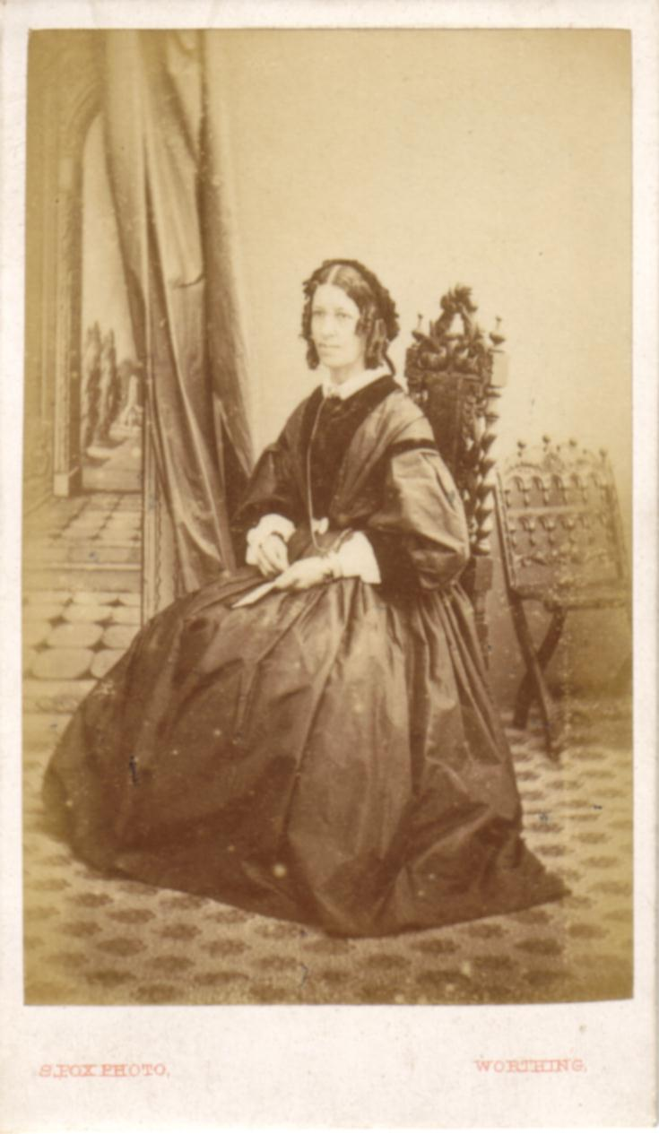 ABOVE A Carte De Visite Portrait Of Seated Woman Taken By Samuel Fox Worthing Around 1867